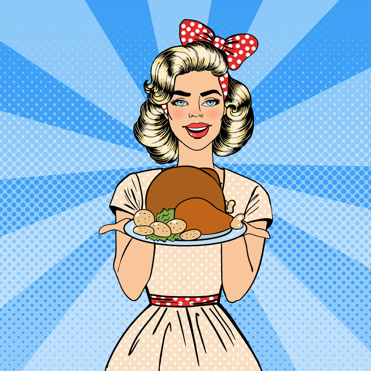 Beautiful Woman Holding a Plate with Roast Turkey. Housewife Cooking. Pop Art. Vector illustration
