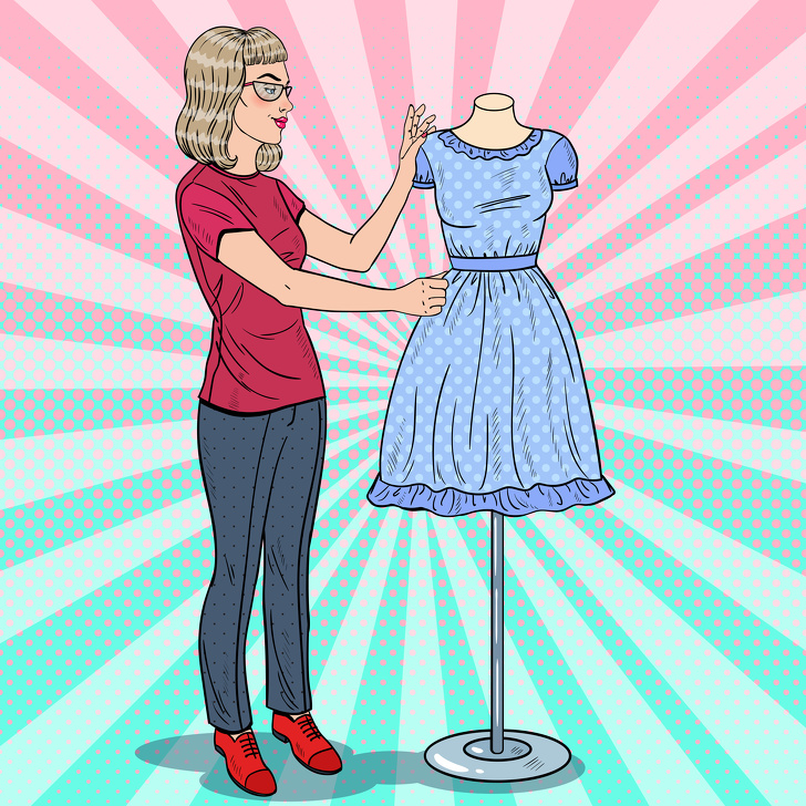 Beautiful Fashion Designer with Dress on a Mannequin. Textile In