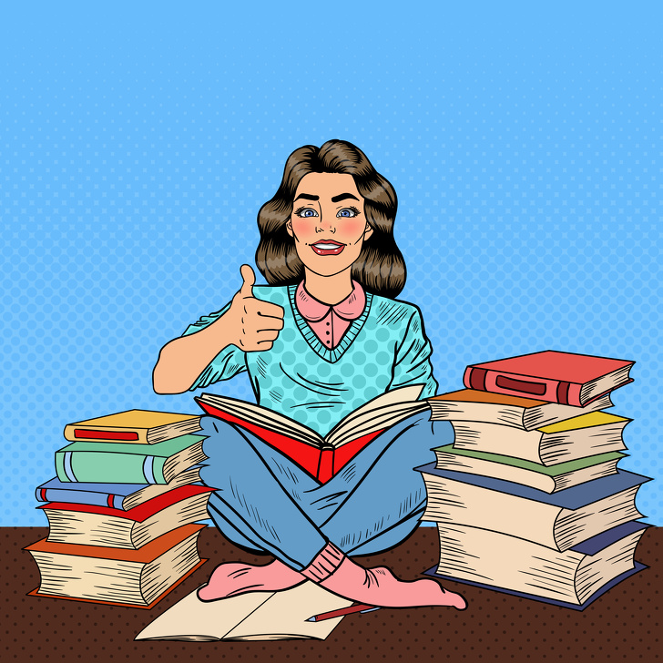Pop Art Young Woman Sitting on the Library Table and Reading Book with Hand Sign Thumb Up. Vector illustration
